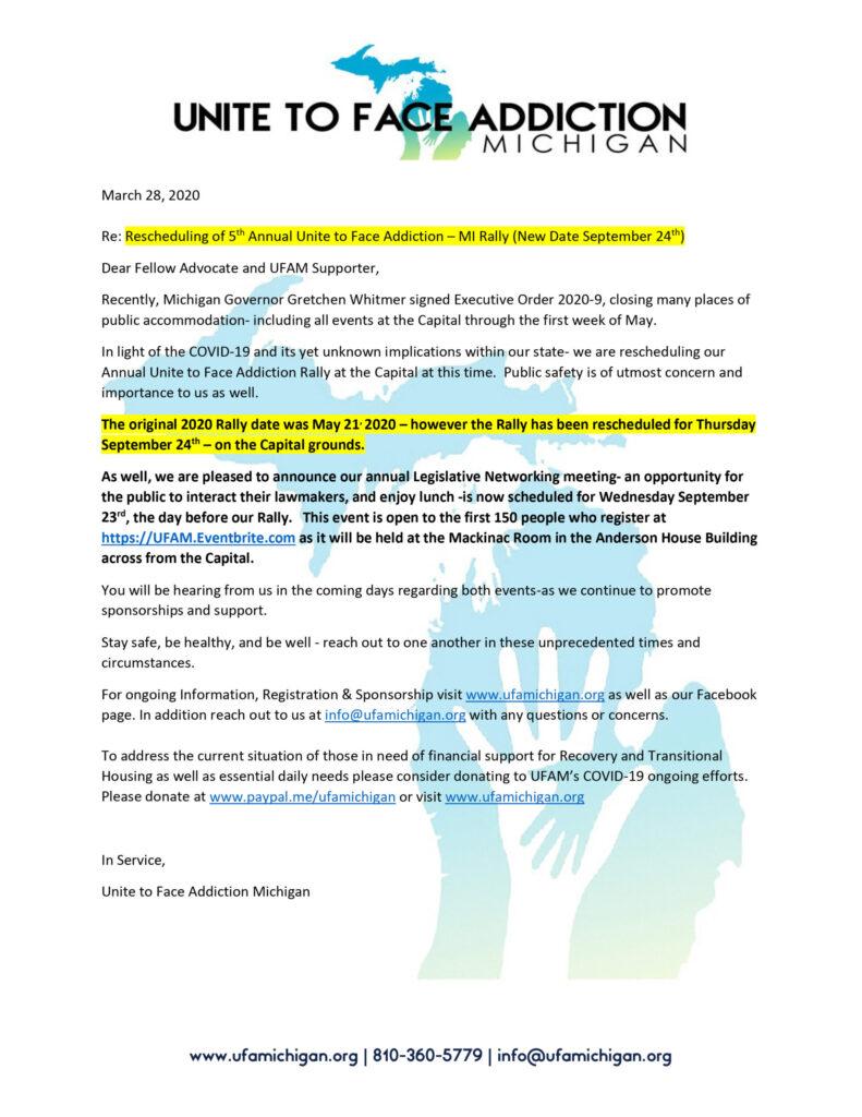 UFAM Rally Rescheduled